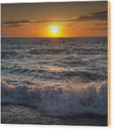 Lake Michigan Sunset With Crashing Shore Waves Wood Print