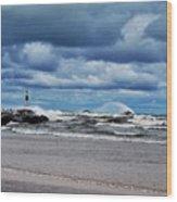 Lake Michigan With Big Wind  Wood Print