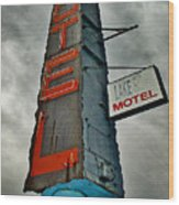 Lake Motel Wood Print