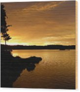 Lake Of Gold Wood Print