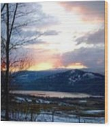 Lake Okanagan Sunset At Vernon Wood Print