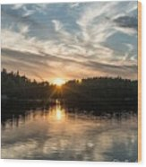 Lake Onaping Sunset Reflections Wood Print