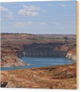 Lake Powell And Glen Canyon Dam Wood Print