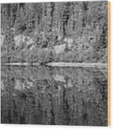 Lake Reflections In Black And White Wood Print