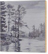 Lake Reflections Monochrome Wood Print