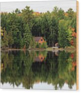 Lake Reflections Panorama 4370 4371 Wood Print