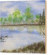 Lake Scene Wood Print