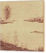 Lake Scene On Parchment Wood Print