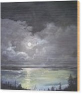 Lake Shore Moonscape  Wood Print