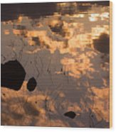Lake Sunset Reflections Wood Print