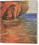 Lake Superior Cave Wood Print