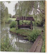 Lake Swing And Bridge Wood Print