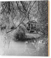 Lake Swing - Black And White Wood Print