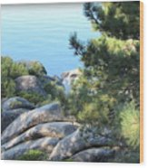 Lake Tahoe And Boulders Wood Print
