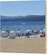 Lake Tahoe Beach Scene Wood Print