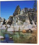 Lake Tahoe- Pyramid Of Rocks Wood Print