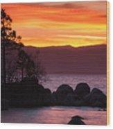 Lake Tahoe Sunset Colors Wood Print