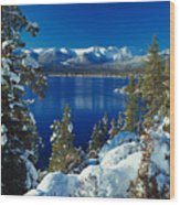 Lake Tahoe Winter Wood Print by Vance Fox