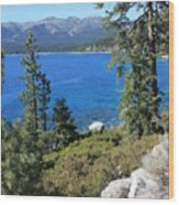 Lake Tahoe With Mountains Wood Print
