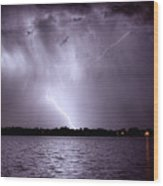 Lake Thunderstorm Wood Print