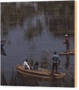 Lake Titicaca Reed Boats Wood Print