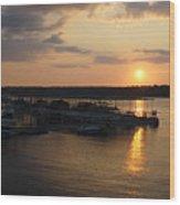 Lake Travis Sunset Over Carlos N Charlies Wood Print