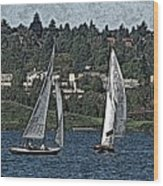 Lake Union Regatta Wood Print