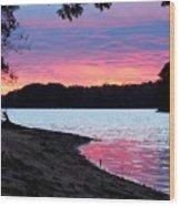 Lake View Sunset Wood Print