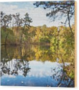 Lake Waterford Fall - Watercolor Fx Wood Print
