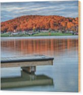 Autumn Red At Lake White Wood Print by Jaki Miller
