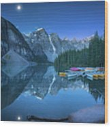 Lake With Moon At Four Am Wood Print