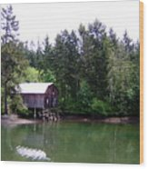 Lakebay Green Water  Wood Print