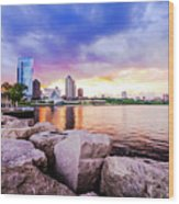 Lakefront Sunset On Rocks Wood Print