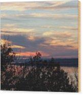 Lakefront Sunset Wood Print