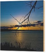 Lakeshore Sunset Wood Print