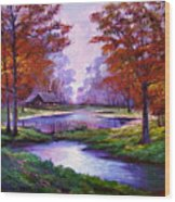 Lakeside Cabin Wood Print by David Lloyd Glover