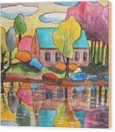 Lakeside Dream House Wood Print