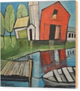 Lakeside Farm Wood Print