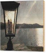 Lakeside Lantern Wood Print