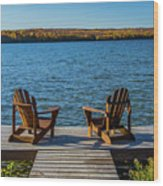 Lakeside Seating For Two Wood Print