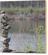 Lakeside Stone Art Wood Print