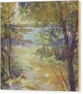 Lakeside Sunglow Wood Print