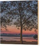 Lakeside Sunrise Wood Print