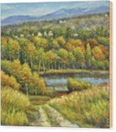 Lakeside Trail In Autumn Wood Print