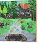 Lakewoods Lodge Wood Print