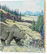 Lamar Valley Grizz Wood Print