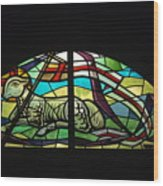 Lamb Stained Glass Window Wood Print