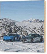 Lamborghini Aventador Sv And Ferrari F12 Tdf Wood Print