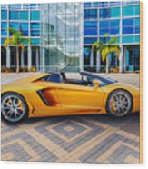 Lamborghini Gold Wood Print