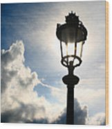 Lamp Post At The Louvre Wood Print